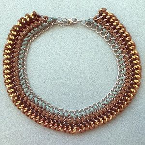 Jewelry - Chunky Bib Braided Cord and Chain Necklace